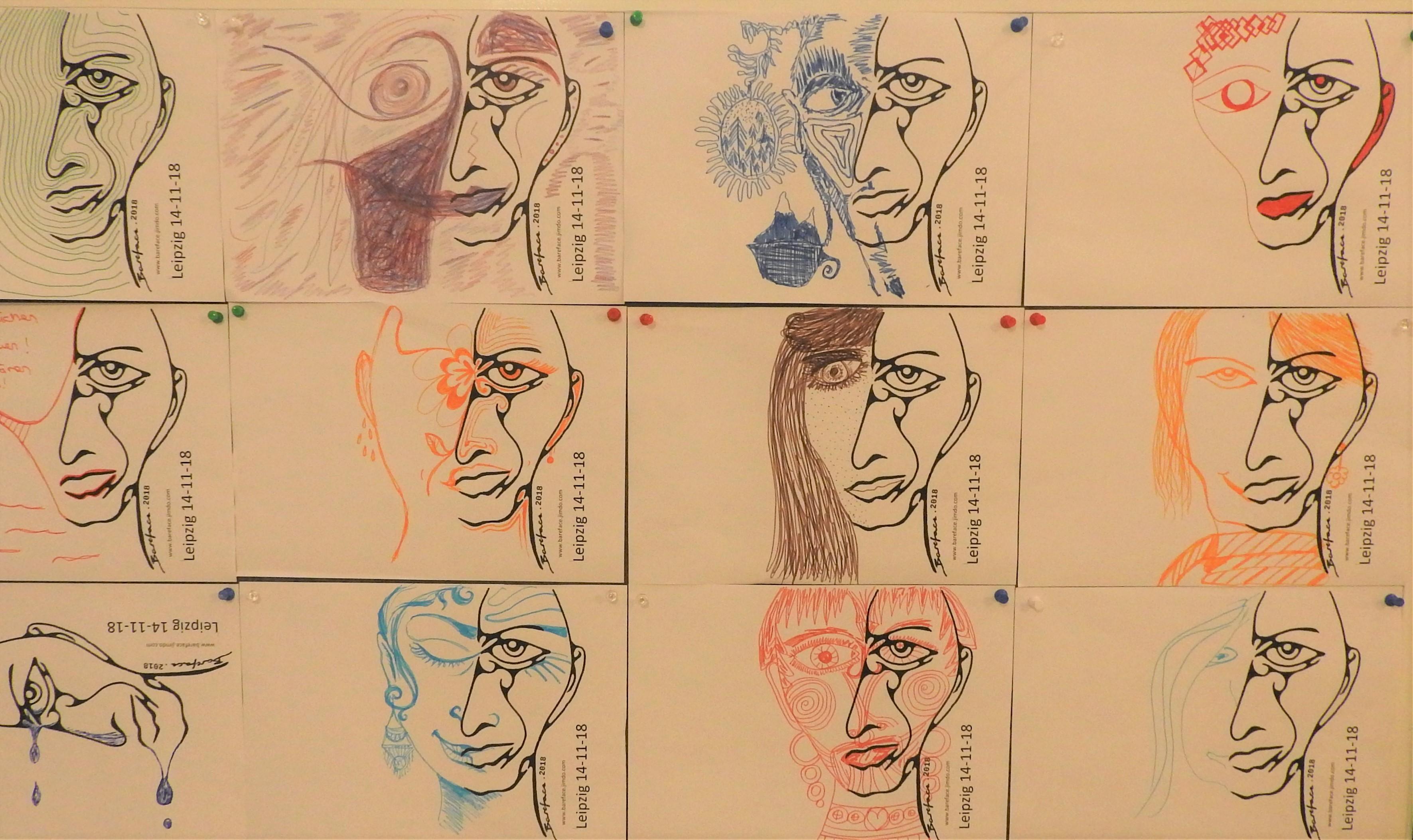 Gezeichnete Portraits von Gesichtern
