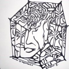 Eine mit dunklem Filzstift skizzierte rechte Gesichtshälfte. Angedeutet sind Nase, Mund, Auge und Ohr. Von dem gehen spinnenwebenartige Strukturen aus, wobei das Gesicht das Zentrum den Spinnennetzes bildet. In jedem der einzelnen Spinnennetzabschnitten spiegelt sich das Gesicht wider.