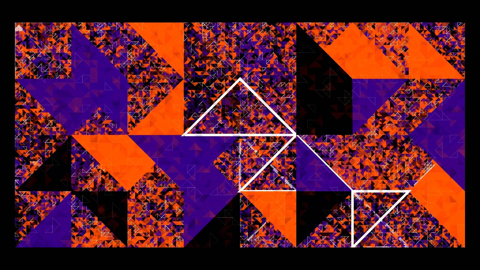 """Live-Animation """"Ritual Verality Experience"""": Hunderte von Dreiecken überlagern sich und bilden eine abstrakte Grafik. Sie sind verschieden groß, unterschiedlich gedreht und haben verschiedene Farben (blaue Fläche, rote Fläche, schwarze Fläche, weiße Umrisslinie). Einige sind transparent, sodass unruhige Durchblicke entstehen."""