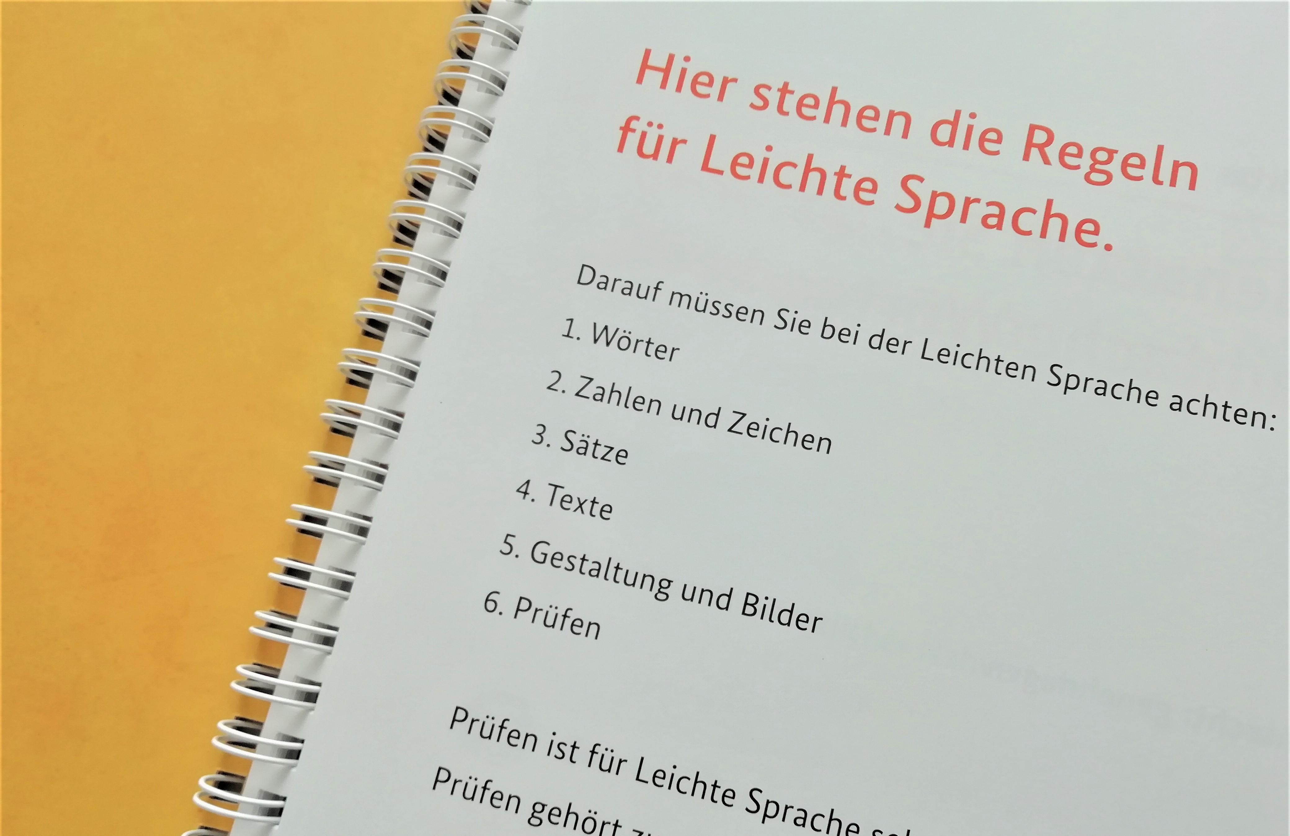 Das Foto zeigt eine Broschüre, aufgeschlagen. In der Überschrift steht: hier stehen die regeln für Leichte Sprache. Danach folgt erklärender Text.
