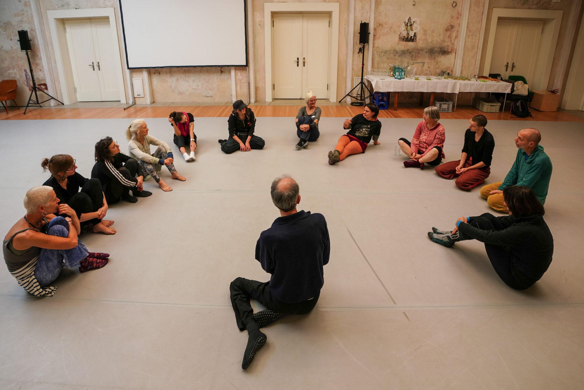 Foto, beim Fachtag Divers! am 18.12.2019 aufgenommen. Teilnehmer eines Workshops sitzen auf dem Tanzboden in einem Halbkreis. der Kursleiter sitz vor ihnen. Auf dem Bild ist sein Rücken zu sehen.